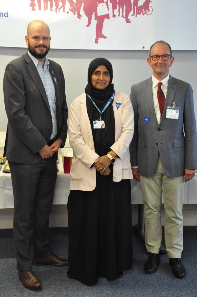 Picture of, left to right, Hackney Mayor Philip Glanville, our CEO Yasmin Alam, and David Ross, chair of our Trustee Board